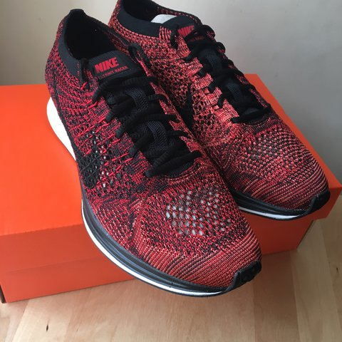 brand new 9d84d 7d313  sneakerflavours100. 2 years ago. London, United Kingdom. Nike Flyknit Racer  Running Shoes Red Black ...