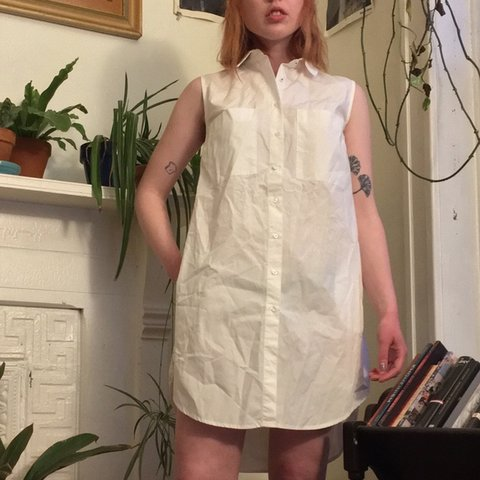 5c278bef @frutabomba. 26 days ago. Chicago, United States. ZARA white sleeveless  button up shirt-dress w pockets at ...