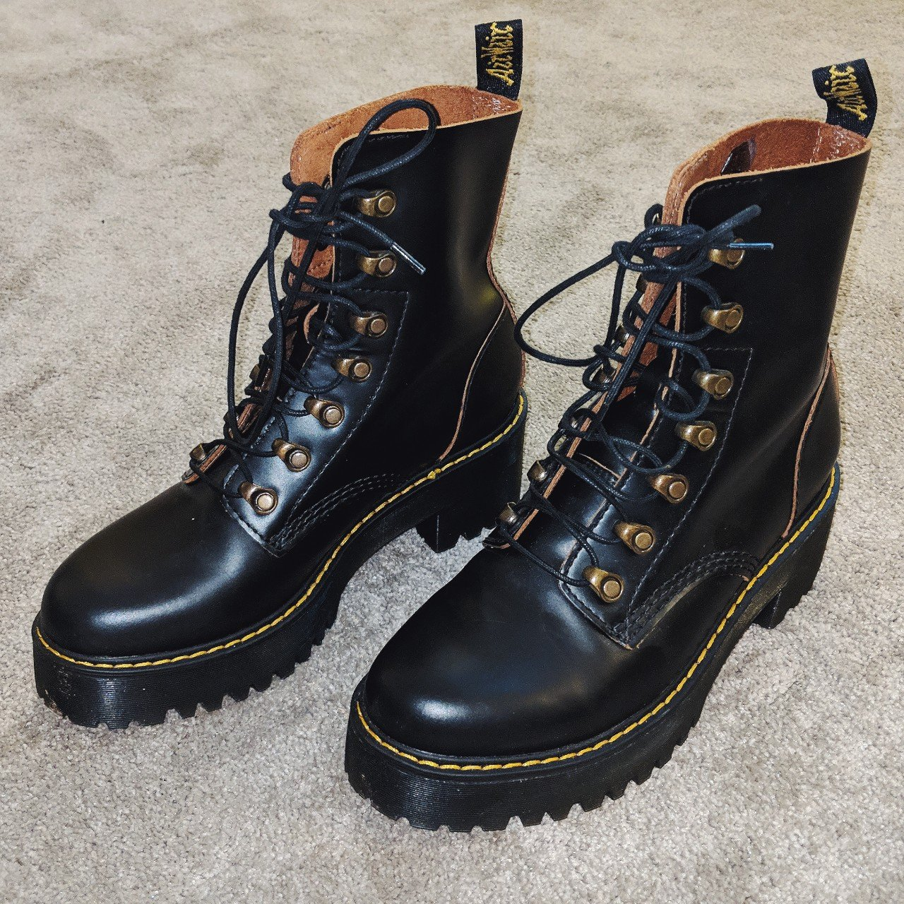c9c9b2245133 Size 6 Dr Martens Leona Vintage Smooth boots. Only worn new! - Depop