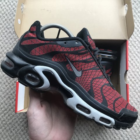 189a7295f3d Nike Air Max Plus TN Tuned Red and Black Bred Trainers (just - Depop