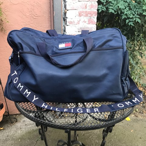 a4083ee5d0 @justkillill. last year. Roseville, United States. Vintage 90s Navy Blue  Tommy Hilfiger Duffel Bag Travel in style with ...