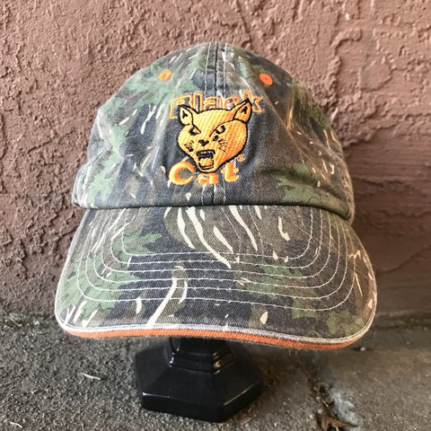 cbe4aa040f9224 Black Cat Fireworks Camo Velcro Strap Dad Cap This awesome - Depop