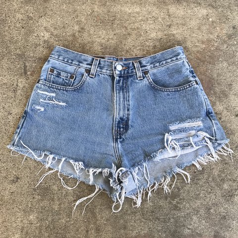 f83b63a939e Womens Distressed Reworked Levis Denim Shorts These shorts - Depop
