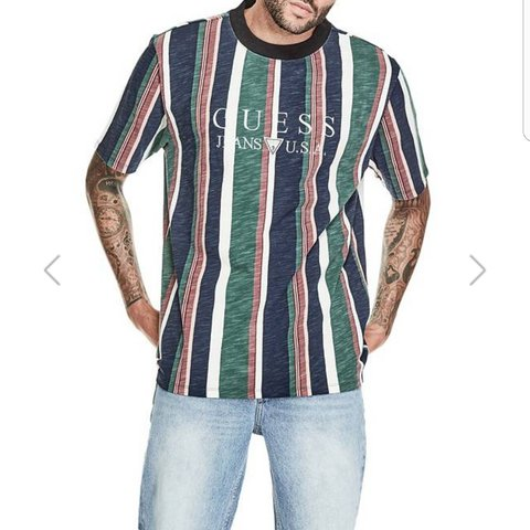 a0bd8106 @threadgodxstarterbaby. last year. Edgerton, Rock County, United States. GUESS  ORIGINALS 1981 SAYER STRIPED TEE Multicolored