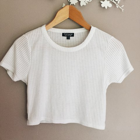 ce474ec6acb cute white topshop ribbed crop top ☁ ☁ simple but perf for - Depop