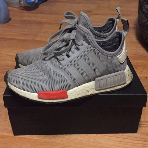 228fb26fc90a9 Adidas NMD R1    color  gray   red    condition  worn a few - Depop