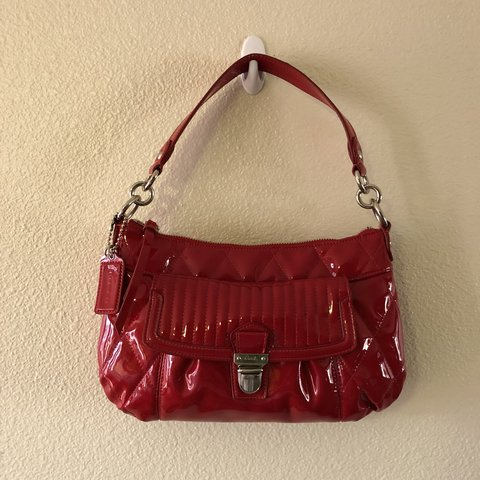 bd39574b329 @briannaxkelly. last month. Spokane Valley, United States. Super Red Shiny  Small Sized Coach Purse---Condition:BNWOT ...