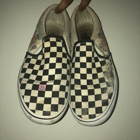 4d54af3ca1 Custom Tatted Checkered Vans Slip Ons Condition  Rugged ( - Depop