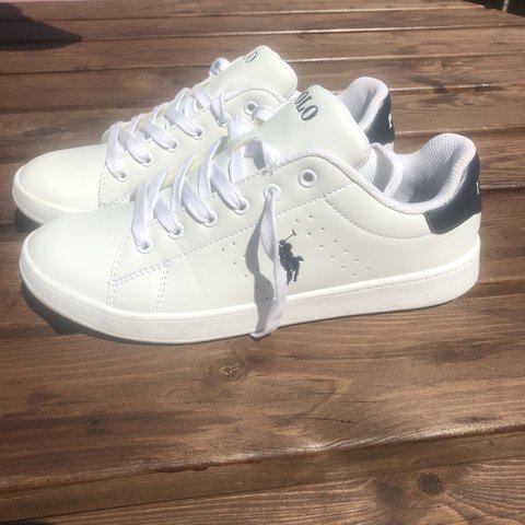1a2deceb73 Ralph Lauren polo white polo trainers   shoes Uk size 5 1 2 - Depop