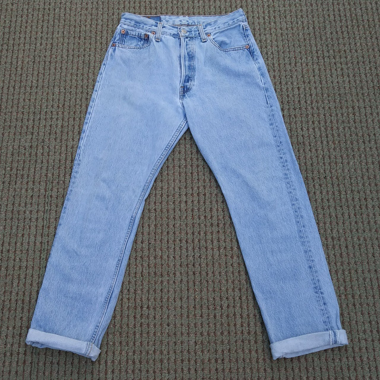 Vintage womens Levis 501 jeans. Light wash. Faded. Worn. Tag - Depop bc5a2e8c5309