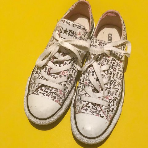 38ff5381214a Unisex White patterned Converse All Star low tops quoting - Depop