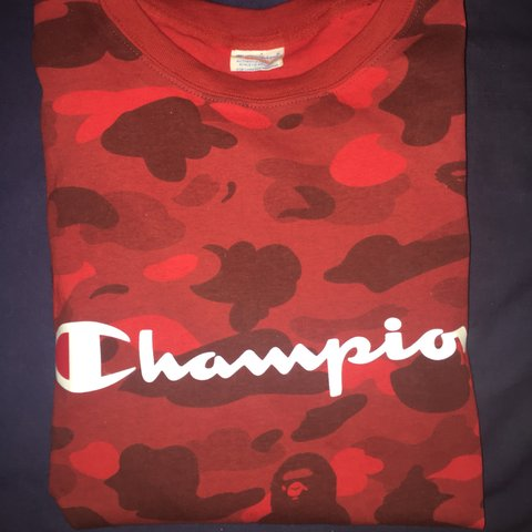 4d43ea4a7 @lukeydavies. 11 months ago. Tonbridge, United Kingdom. Champion X Bape t  shirt in red camo. Rare Only worn once ...