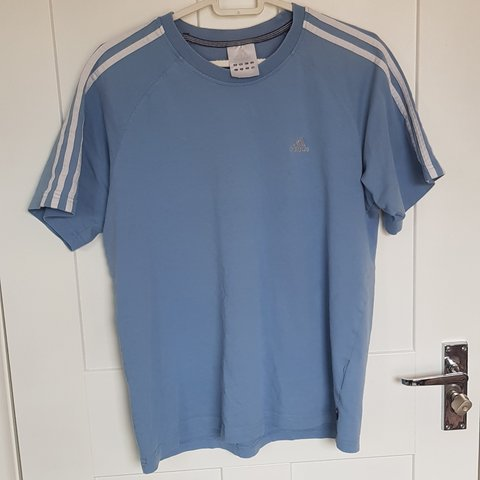 72b22d345bc7b Retro Adidas T-shirt Light Blue   Baby blue   Duck egg blue - Depop
