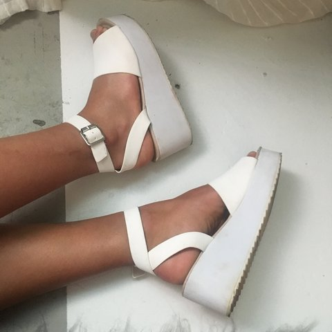4c4ebe1f6baa White platform sandals. ASOS brand shoes. Pleather with soft - Depop