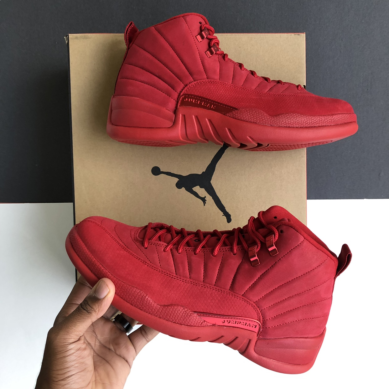 "super cute c1a51 ea28b AIR JORDAN 12 RETRO ""BULLS/GYM RED"" (2018) MENS... - Depop"