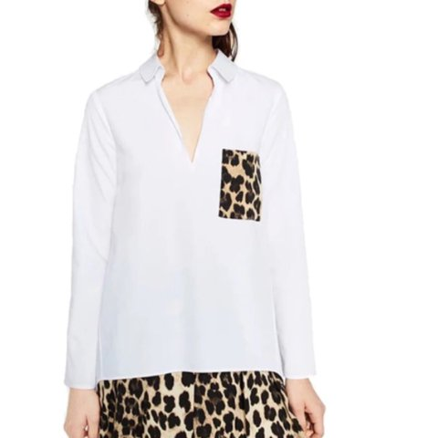 353ba247692b7 Zara Woman White Poplin Shirt with Leopard Print Pocket. - - Depop