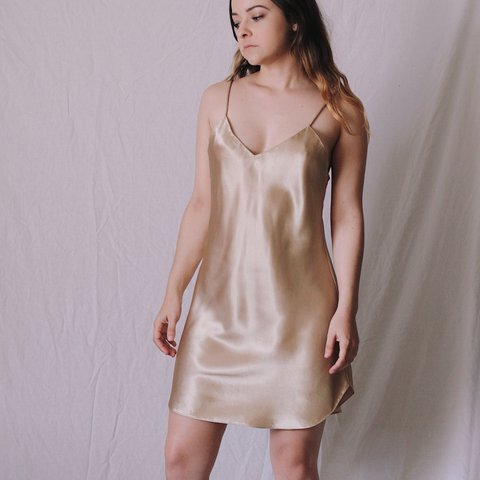 db4d3558ceb9 Silky slip dress perfection! Champagne color 🥂 The ultimate - Depop