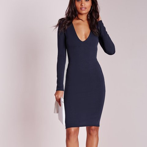 6f481871a95a Navy Long Sleeve Midi Dress Size UK 10 Never worn
