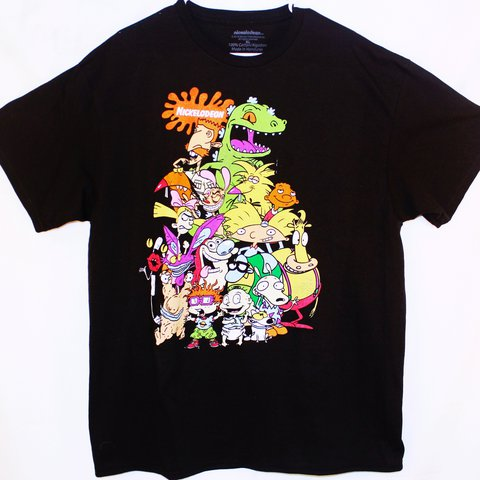 8e197a906 Nickelodeon Black Graphic T-Shirts, color black, size XL, TV - Depop