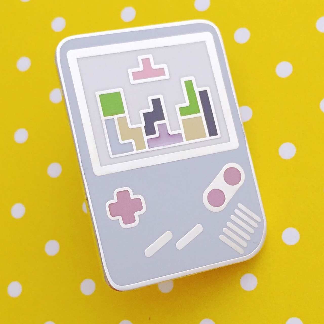 Pastel Tetris retro gameboy pin comes with backing - Depop
