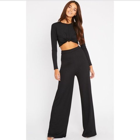 d311c7825cd3 Pretty little thing knot and palazzo pant co-ord in black! - Depop