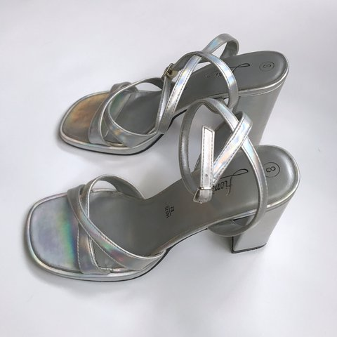 fafc60408f @shopiehotdogs. last year. Portland, OR, USA. Such dope late 90s block heel  holographic silver strappy ...