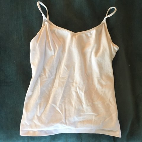 d3a4a1587217e Old Navy white women s cami top with shelf bra  tank top in - Depop