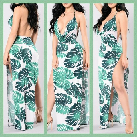 2770f74dc69 Floral leaf print Sun Dress Keywords  Fashion Nova Maxi Low - Depop
