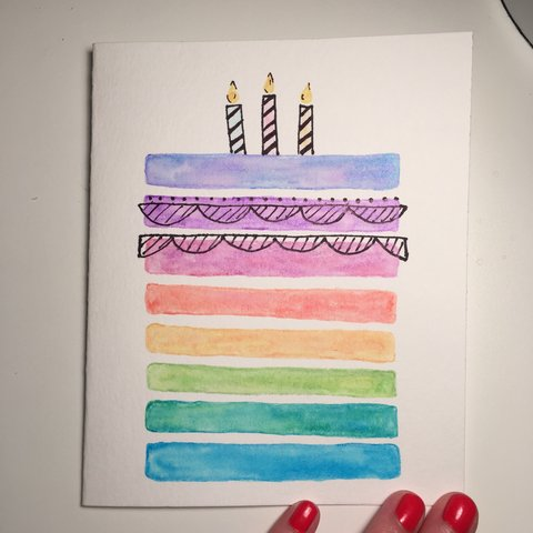 Hollykbadger Last Year Oxford United States Handmade Watercolor Painted Birthday Card