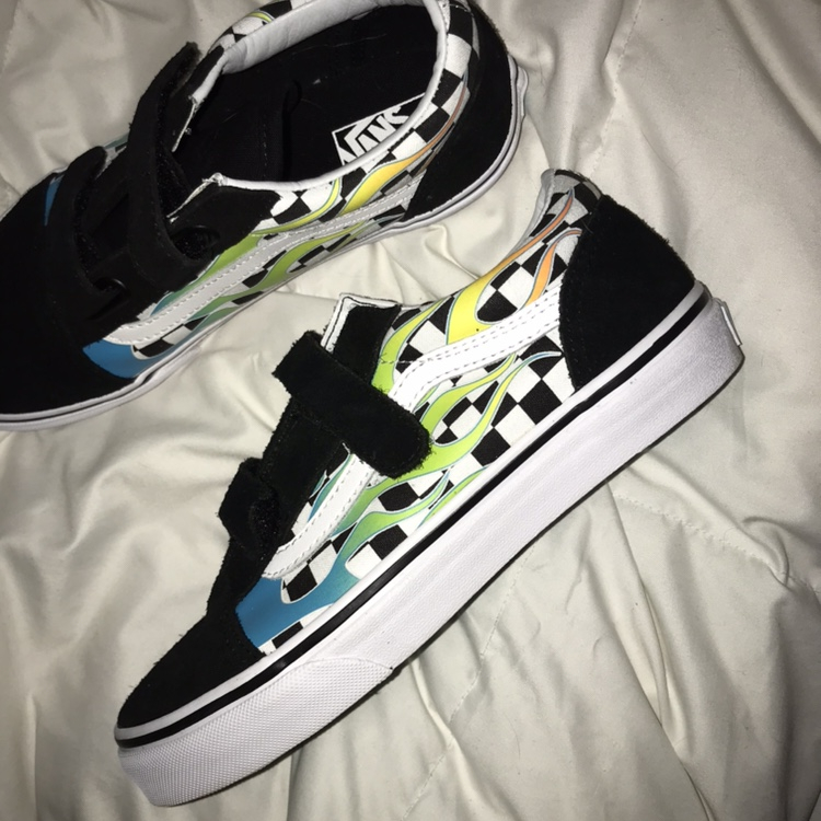 velcro blue flame checkered vans, youth