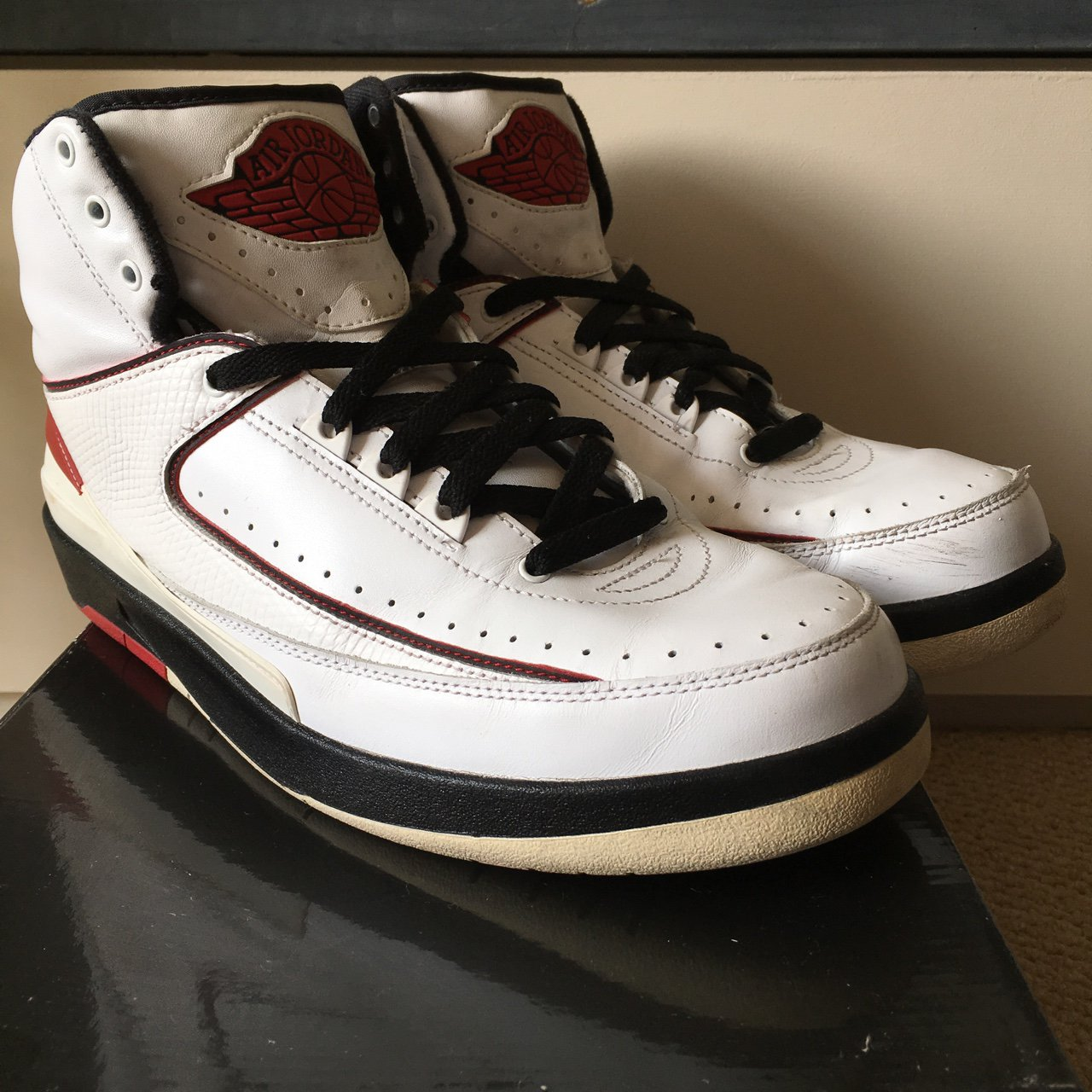 d8a3b152f8bd Air Jordan 2 Retro QF White Black Varsity Red. Worn with a - Depop