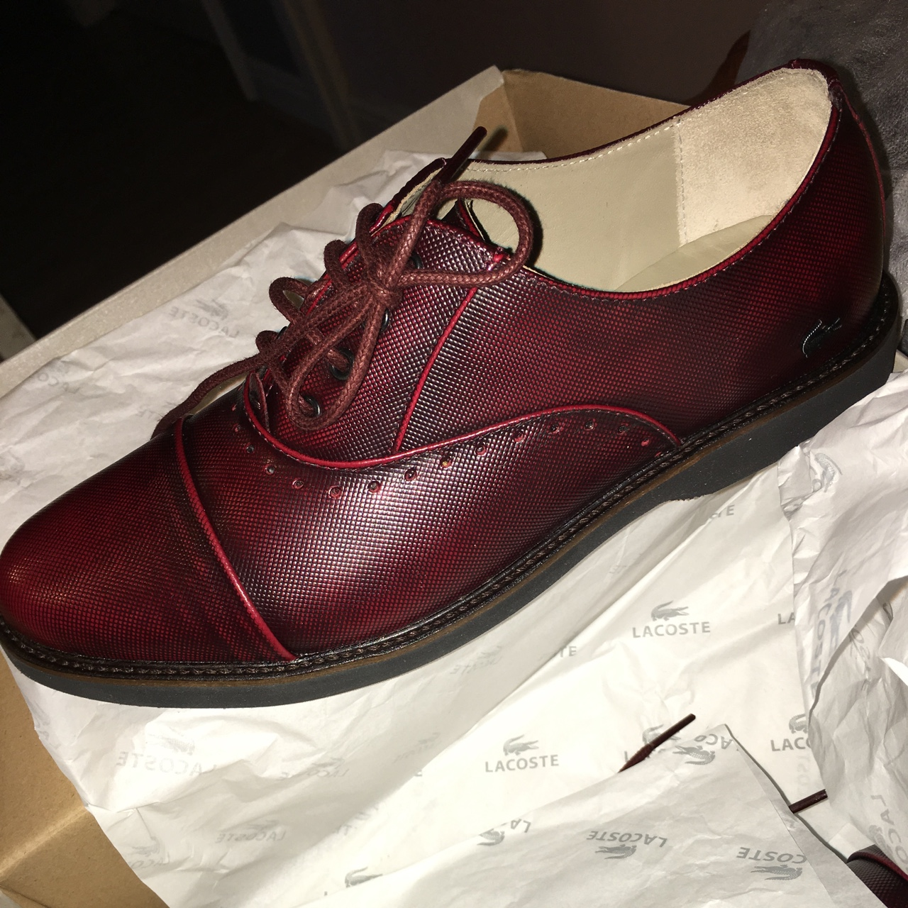 burgundy Lacoste brogues