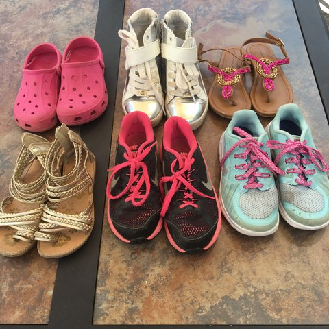 221891925e75 Bundle of kids shoes size 13 (pink crocs and gold sandals) 1 - Depop