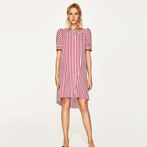 1f4898c181 @steedgeorgina. last year. London, United Kingdom. Zara Woman Collection, Striped  Shirt Dress, red and white.
