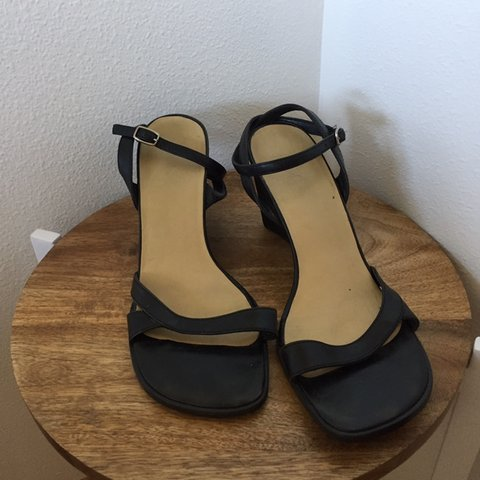 8b8b186e524 Amazing vintage wrap ankle wedges with strappy toe and belt - Depop