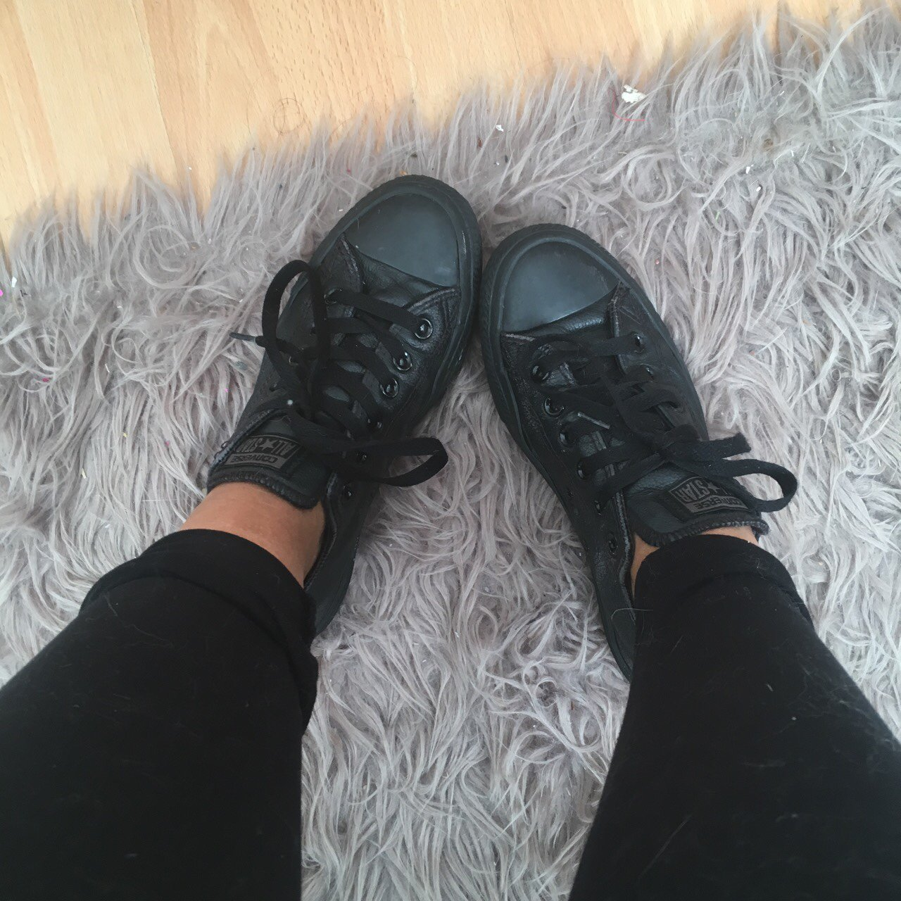 b4019684e45584 Black Leather Converse All Stars - Size 5 - Great Condition - Depop