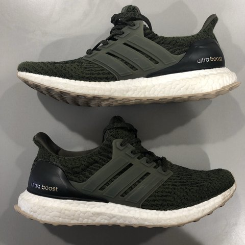 c8425ea503498 Khaki Adidas Ultra Boosts- UK 8. Used but great condition. - Depop