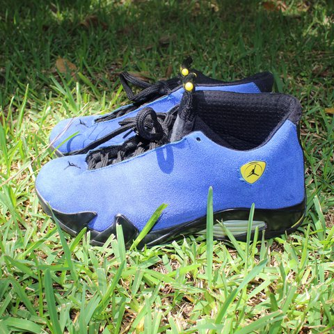 5e46676ef76724 Jordan Retro 14s Blue Ferrari Customs Condition 9 10 (just - Depop