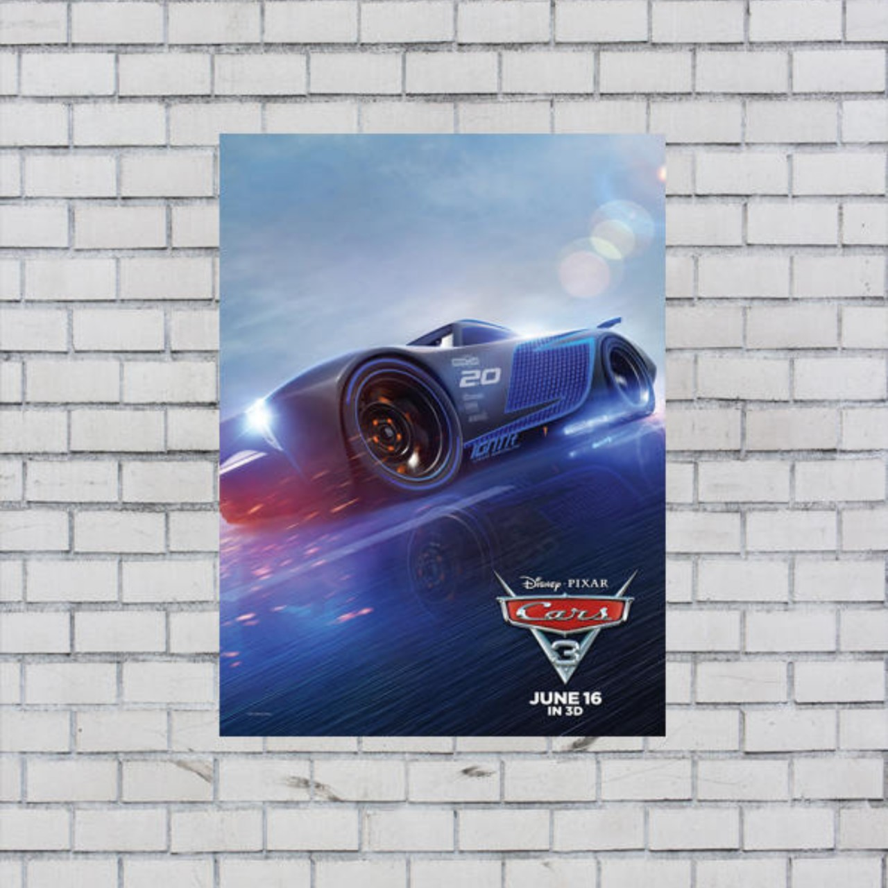 Cars Full Movie Free >> Cars 3 Movie Lightning Jackson A3 Poster Print Free Depop
