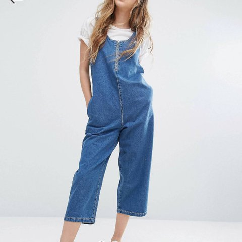 0847f0c46a9 Noisy May Cropped Denim Jumpsuit in XS - Zip Front Detail - - Depop