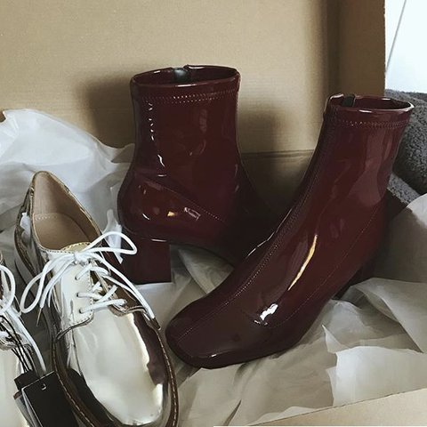 18b50acb97a @megbrown1997. last year. Cowbridge, United Kingdom. Zara burgundy heeled  faux patent ankle boots. Size 4. Never been worn!