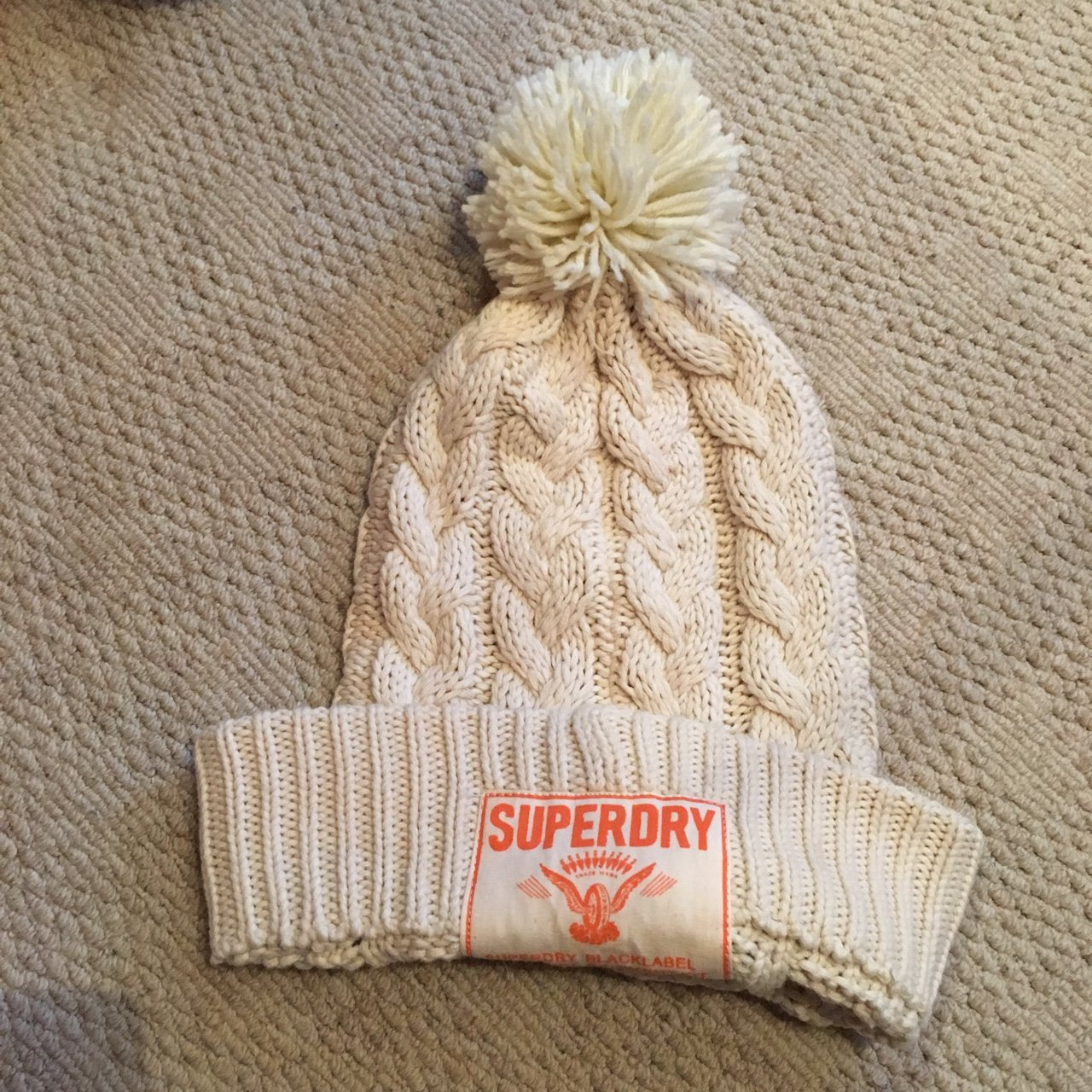 aecd9dada02 Genuine Superdry cream hat with Pom Pom. Great for winter. - Depop