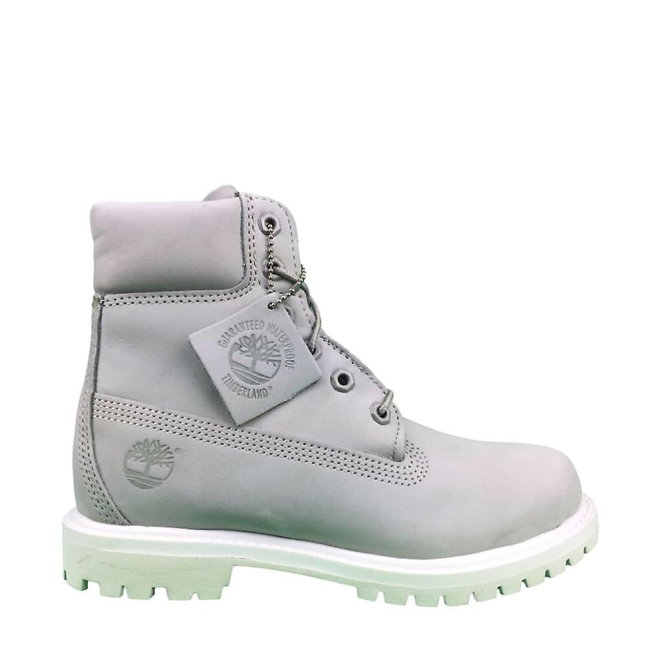 Light grey timberland boots with white sole. Size 3.5 - Depop 2418f717ecd9