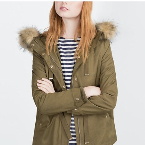 01c35c6a24ff7 Zara khaki hooded parka jacket/coat with removable lining is - Depop