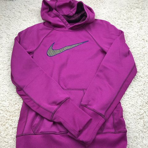cf8b3426 @cateclothes. yesterday. United States. • Purple Nike hoodie with navy and yellow  patched swoosh.