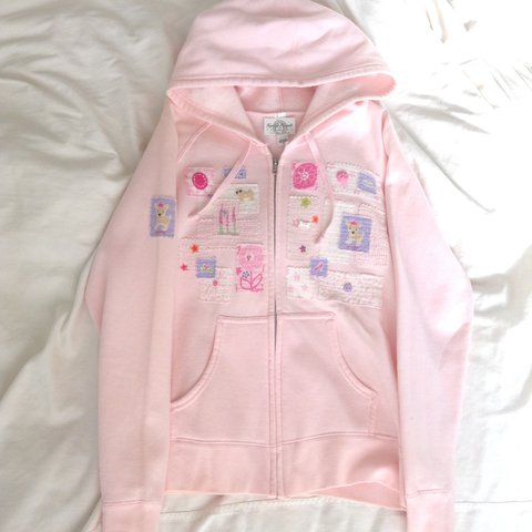 1e1a2b80 Kawaii Cute Patches Pastel Pink Hoodie Size to the color - Depop