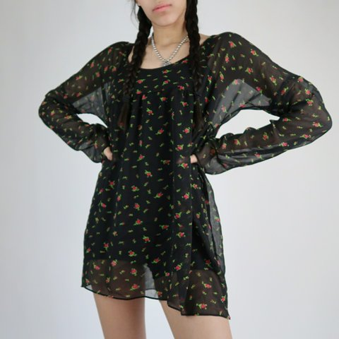 aae7fc925b Cute baby doll dress ! 90s style sheer black material with