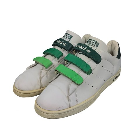 Adidas Stan Smith Velcro trainers shoes. White and green. - - Depop fb20f9522