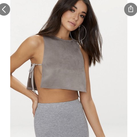 9ce53a4777 Suede mocha tie side crop top from pretty little thing