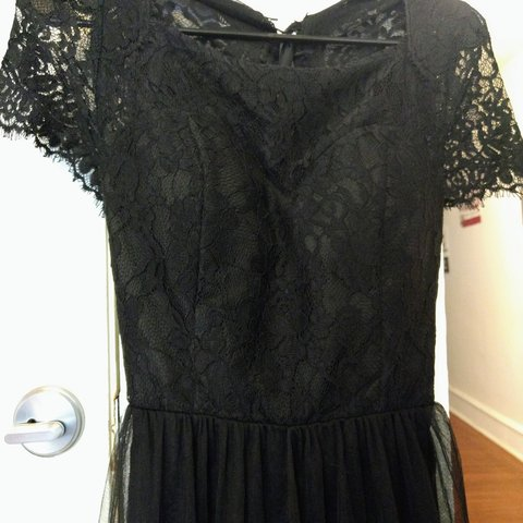 Chi Chi London Asos Black Lace Tulle Maxi Dress W Lace Up Depop